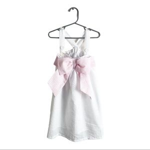 Cecil & Lou Seersucker Bow Dress White Pink 4T